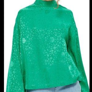 TOPSHOP jacquard emerald mockneck blouse shirt top